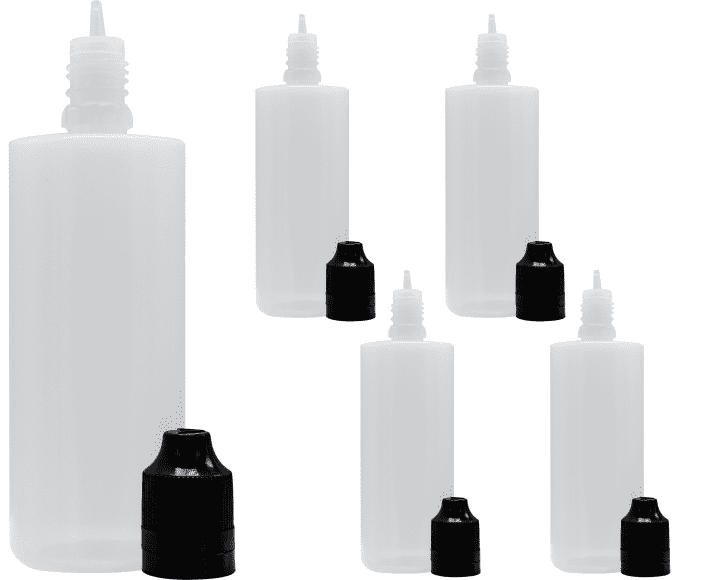 Liquidflasche 100ml PE Flat Top 5er Set